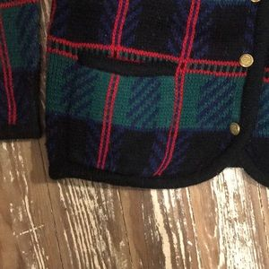 Tally Ho Sweaters - VINTAGE UGLY SWEATER BLUE GREEN RED PLAID SZ MED